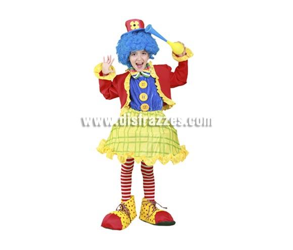 Disfraz barato de Payasita de colores infantil para Carnaval. Talla de 5 a 6 años. Incluye chaqueta, vestido y sombrero. Complementos NO incluidos, podrás verlos en la sección de Accesorios. Disfraz de Payasa para niña.