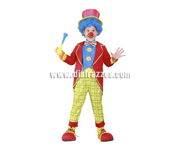 Disfraz barato de Payasito de colores infantil para Carnavales. Talla de 7 a 9 años. Incluye chaqueta, pechera con pajarita y botones, pantalones y sombrero. Accesorios NO incluidos, podrás verlos en la sección Complementos. Disfraz de Payaso para niños.