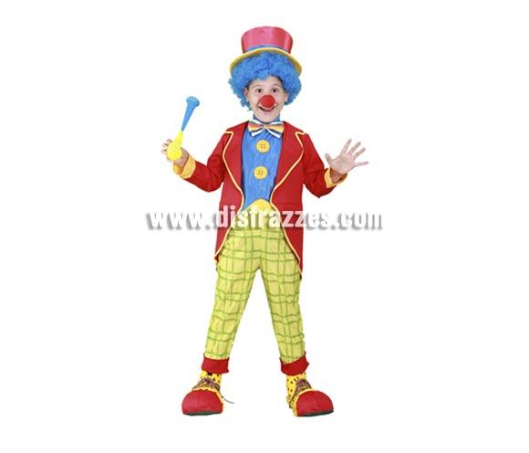 Disfraz barato de Payasito de colores infantil para Carnavales. Talla de 5 a 6 años. Incluye chaqueta, pechera con pajarita y botones, pantalones y sombrero. Accesorios NO incluidos, podrás verlos en la sección Complementos. Disfraz de Payaso para niños.