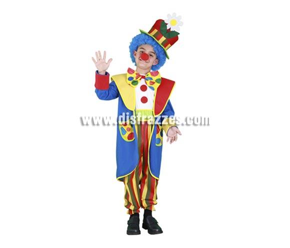 Disfraz de Payaso Abrigo infantil para Carnavales. Talla de 5 a 6 años. Incluye abrigo, sombrero y mono. Resto de complementos NO incluidos, podrás verlos en la sección de Accesorios.
