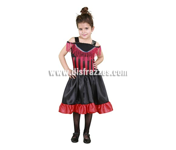 Disfraz barato de Can-Can niñas para Carnavales. Talla de 5 a 6 años. Incluye vestido.