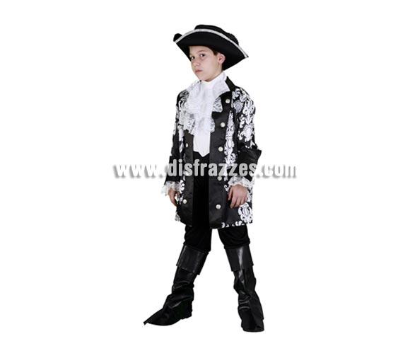 Disfraz barato de Pirata Dandy infantil para Carnavales. Talla de 5 a 6 años. Incluye sombrero, chaqueta, chorrera, pantalón y cubrebotas.