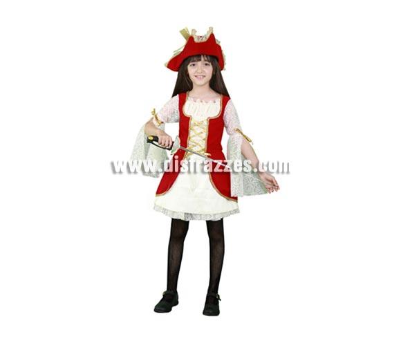 Disfraz de pequeña Pirata roja infantil para Carnavales. Talla de 5 a 6 años. Incluye vestido y sombrero. Espada NO incluida, podrás verla en la sección de Complementos.