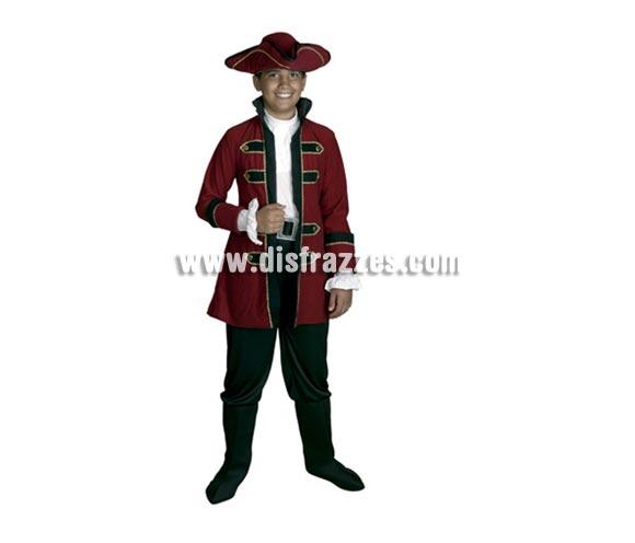 Disfraz barato de Rey Pirata infantil para Carnavales. Talla de 10 a 12 años. Incluye puños, chaqueta, pantalón con cubrebotas, cinturón y sombrero.