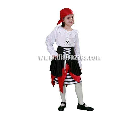 Disfraz barato de joven Pirata infantil para Carnavales. Talla de 10 a 12 años. Incluye camisa, falda y pañuelo.