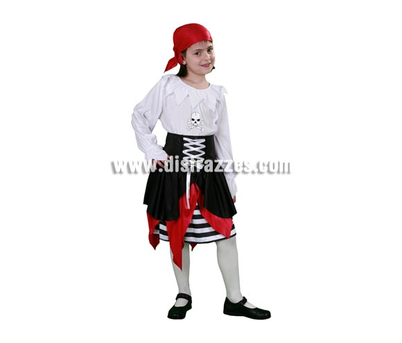 Disfraz barato de joven Pirata infantil para Carnavales. Talla de 5 a 6 años. Incluye camisa, falda y pañuelo.