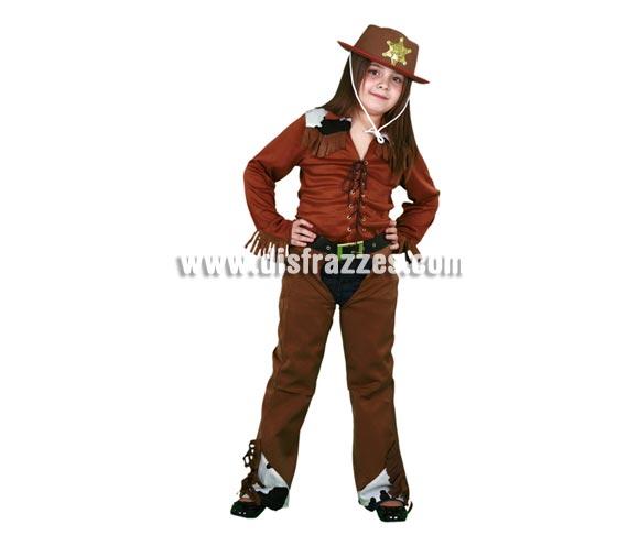 Disfraz barato de Vaquera infantil para Carnaval. Talla de 5 a 6 años. Incluye camisa, zahones con cinturón. Sombrero NO incluido, podrás verlo con la ref. 89353BT.