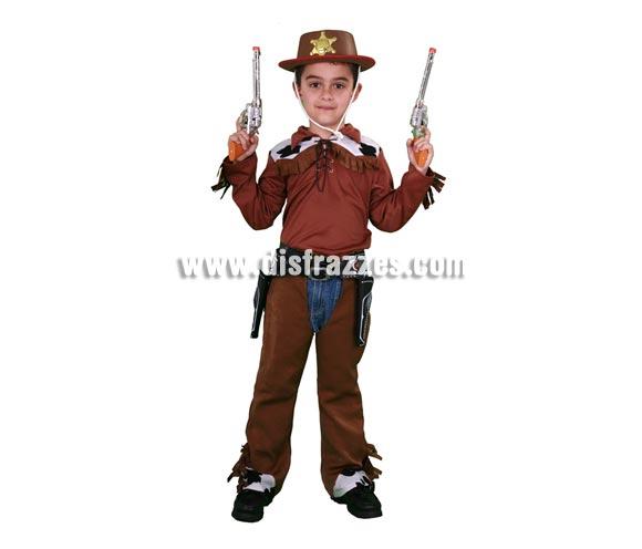 Disfraz barato de Vaquero infantil para Carnavales. Talla de 5 a 6 años. Incluye camisa y zahones con cinturón. Pistolas NO incluidas, podrás verlas con la ref. 79619BT y Sombrero NO incluido, podrás verlo con la ref. 89353BT.