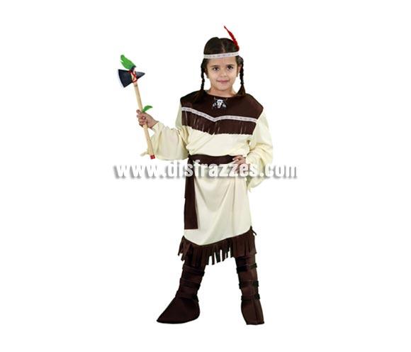 Disfraz de India para niña en Carnavales. Talla de 7 a 9 años. Incluye tocado, vestido, cinturón y cubrebotas. Hacha NO incluida, podrás verla en la sección de Accesorios, hay varias referencias.