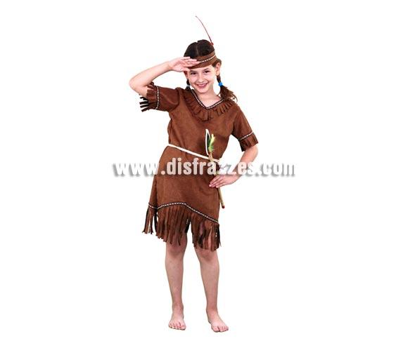 Disfraz de India barato de niña para Carnavales. Talla de 5 a 6 años. Incluye cinta de la cabeza, vestido y cinturón.
