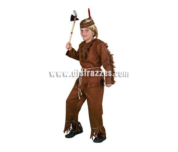 Disfraz barato de Indio para niños en Carnavales. Talla de 7 a 9 años. Incluye cinta de la cabeza, camisa, cinturón y pantalón. Hacha NO incluida, podrás verla en la sección de Accesorios con varias referencias.