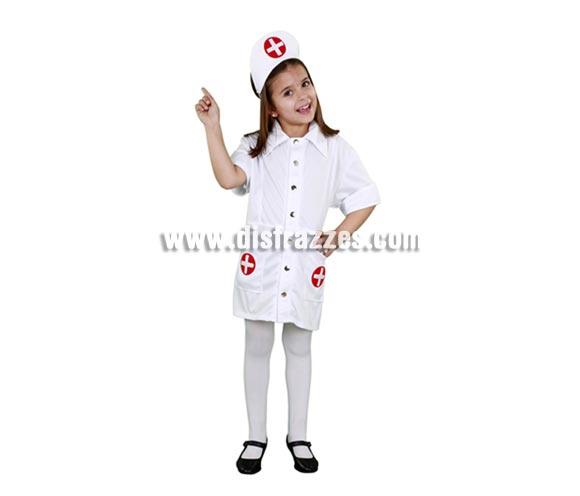 Disfraz super barato de Enfermera para niña en Carnaval. Talla de 5 a 6 años. Incluye cofia y vestido.