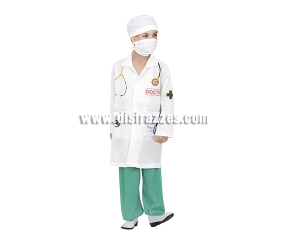 Disfraz de Doctor o de médico infantil barato para Carnavales. Talla de 5 a 6 años. Incluye bata serigrafiada, pantalón, gorro y mascarilla.
