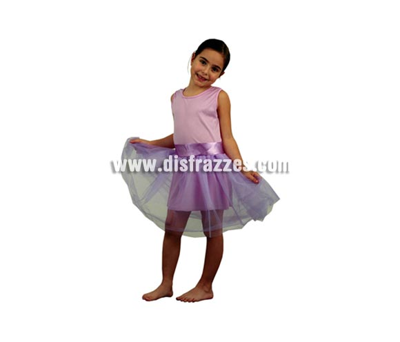 Disfraz barato de Bailarina malva infantil barato para Carnaval. Talla de 3 a 4 años. Incluye cuerpo con tutú.
