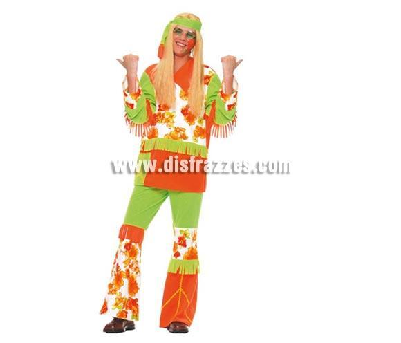 Disfraz de Hippie adulto de hombre para Carnavales. Talla única 52/54. Incluye cinta de la cabeza, casaca y pantalón.