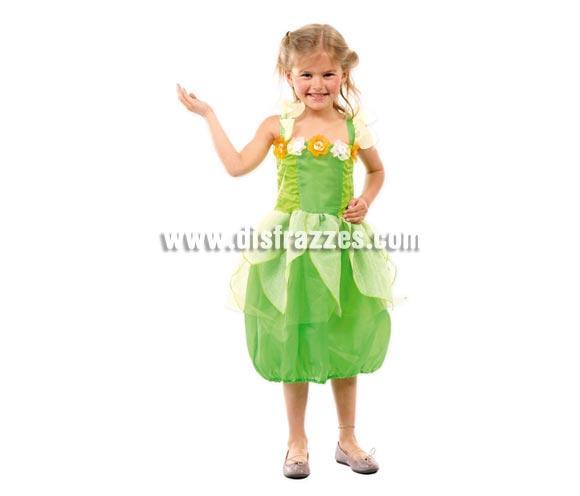 Disfraz barato de Campanilla infantil para Carnavales. Talla de 4 a 6 años. Incluye vestido.