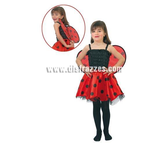 Disfraz barato de Mariquita infantil para niñas. Talla de 2 a 4 años. Incluye vestido y alas.