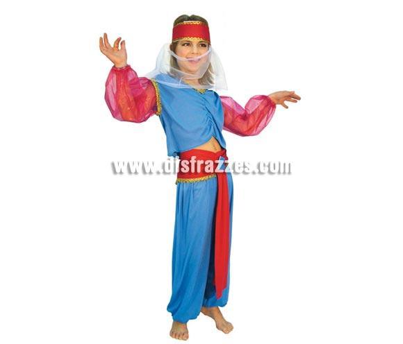 Disfraz barato de Princesa Árabe para niña de 7 a 9 años. Incluye tocado, blusa y pantalón. Disfraz de Bailarina del vientre.
