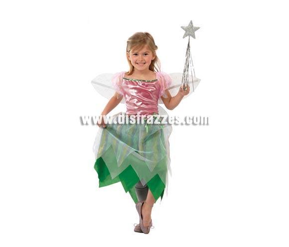 Disfraz barato de Princesa de los Bosques para niñas. Talla de 4 a 6 años. Incluye vestido y las alas. Varita NO incluida, podrás verla en la sección de Complementos. También sirve como disfraz de Campanilla o de Hada del Bosque para niña.