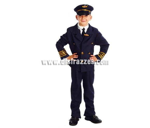 Disfraz de Piloto de Avión para niño. Talla de 4 a 6 años. Incluye gorra, americana y pantalón. Disfraz de Comandante de avión con el que los niños están muy graciosos.