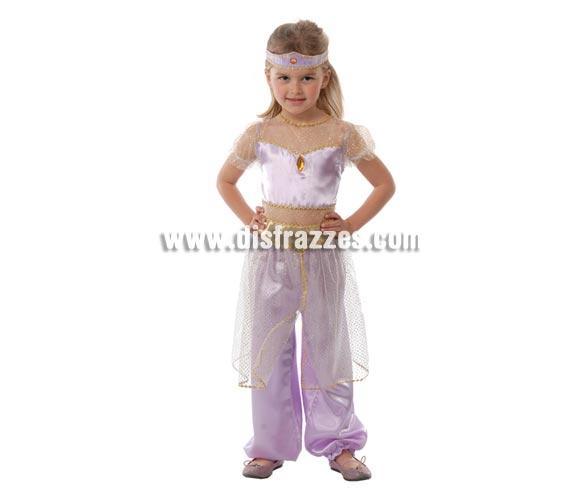 Disfraz barato de Bailarina Oriental para niña o disfraz de Bailarina del vientre. Talla de 10 a 12 años. Incluye pantalón, camisa y cinta de la cabeza. También se usa como disfraz de Paje para niña en Cabalgatas y teatros de Navidad.