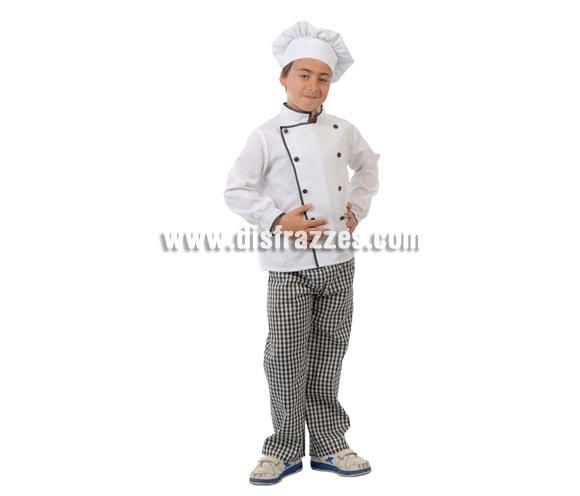 Disfraz barato de Cocinero para niños. Talla de 7 a 9 años. Incluye gorro, chaqueta y pantalón. Un disfraz muy divertido y diferente de Cocinero con el que los niños jugarán a ser Arguiñano.