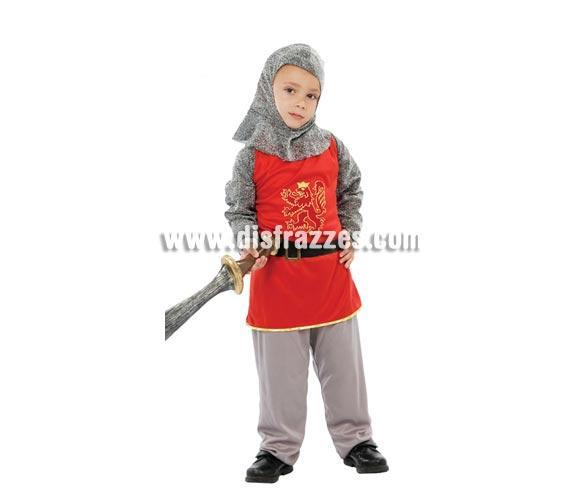 Disfraz barato de Caballero Feudal para niños. Talla de 4 a 6 años. Incluye verdugo, casaca, cinturón y pantalón. Espada NO incluida, podrás verla en la sección de Complementos. Disfraz de Guerrero Medieval infantil ideal para Ferias Medievales.