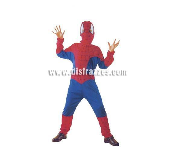 Disfraz barato de Hombre Araña para niños. Talla de 10 a 12 años. Incluye mono y máscara. Para que los niños se sientan como Peter Parker cuando se convierte en Spiderman.