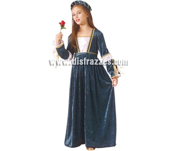Disfraz de Julieta para niña. Talla de 5 a 7 años. Incluye vestido y tocado para la cabeza. Traje de Julieta Medieval ideal para Ferias Medievales.