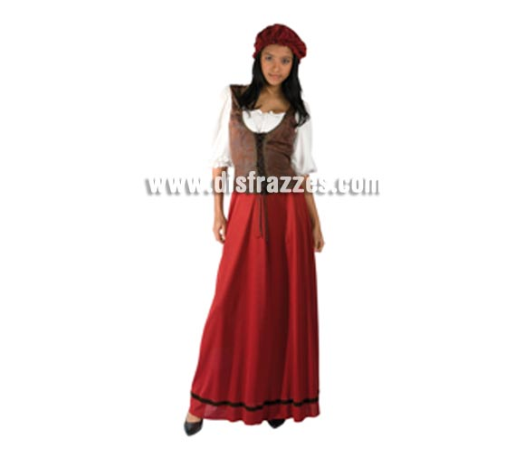 Disfraz de Tabernera Medieval para mujer. Talla estandar de mujer. Incluye vestido con chaleco y camisa y gorro. Disfraz de Mesonera o de Posadera adulta idal para Ferias Medievales.