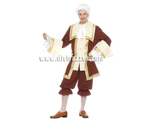 Disfraz de Marqués para hombre. Talla única 52/54. Incluye cuello, chaqueta y pantalón. Peluca NO incluida, podrás verla en la sección de Complementos. Disfraz de Mozart o de Época muy bonito para hombre, de gran calidad perfecto para Carnavales y Fiestas.
