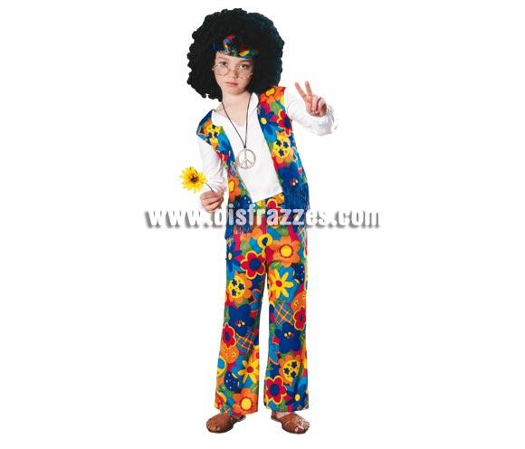 Disfraz de Hippie de niños. Talla 5 a 7  años. Incluye camisa con chaleco y pantalon de campana. NO incluye colgante ni gafas , ver en sección complementos. Disfraz ideal para fiestas y carnaval.