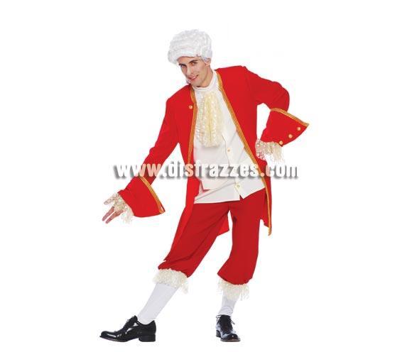 Disfraz de Mozart para hombre. Talla única 52/54. Incluye pechera, camisa, chaqueta, pantalón y calcetines. Peluca NO incluida, podrás verla en la sección de Complementos. Disfraz de Época de hombre o Duque ideal para Fiestas y por supuesto para Carnavales.