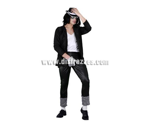 Disfraz de Estrella del Pop para hombre. Talla standar M-L = 52/54. Incluye chaqueta, camisa, pantalón y sombrero. Con éste disfraz podrás imitar al mítico y fantástico Michael Jackson y llamar la atención en cualquier Fiesta o en Carnavales.