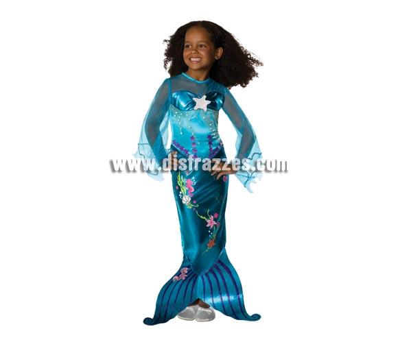 Disfraz de la Sirenita Azul Mágico o Princesa Ariel de niñas. Talla de 3 a 4 años. Incluye vestido  Un disfraz ideal para regalar en cualquier ocasión.