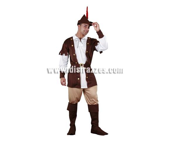 Disfraz barato de Robin Hood para hombre. Talla Standar M-L 52/54. Incluye sombrero con pluma, camisa, pantalón, cinturón y cubrebotas. Traje de Robin de los Bosques que nunca falta en ningún desfile de Carnaval.