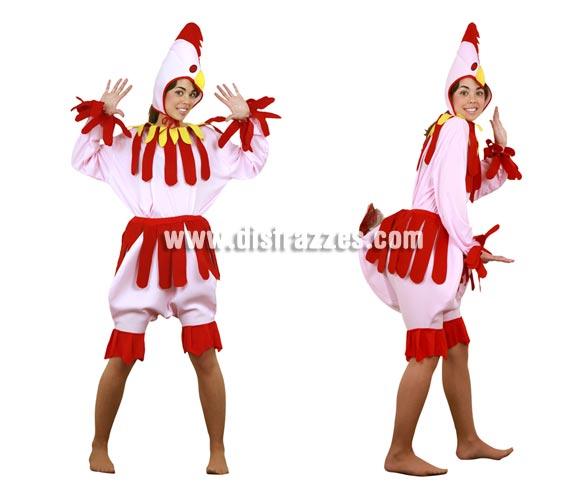 Disfraz de Gallina rosa para mujer. Talla Standar M-L = 38/42. Incluye camisa, pantalón y gorro. Un disfraz muy divertido y cachondo para Carnaval o para cualquier Fiesta.