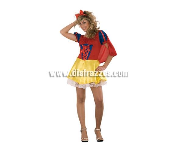 Disfraz de Blancanieves Sexy barato para mujer. Talla standar M-L = 38/42. Incluye diadema, capa y vestido. Disfraz Sexy con el que puedes dar más de una sorpresa.
