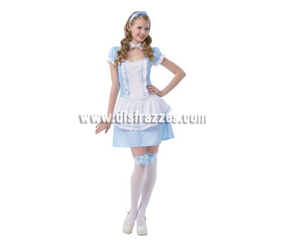 Disfraz barato y muy Sexy de Alicia en el País de las Maravillas para mujer. Talla standar M-L 38/42. Incluye vestido con delantal, cuello y diadema. Disfraz muy Sexy perfecto para sorprender a todos tus amigos y que también puede servir como Disfraz de Dorothy la protagonista del Mago de Oz.