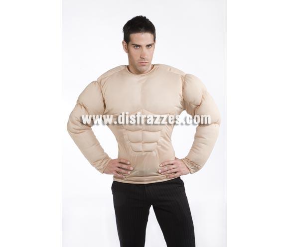 Disfraz de chico con pecho musculoso. Talla standar de hombre. Unicamente incluye el pecho musculoso. Disfraz para presumir de músculos.