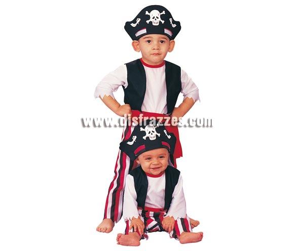 Disfraz de Pirata para niños de 1 a 2 años. Incluye traje completo, cinturón y sombrero. Disfraz muy actual para los más pequeños.