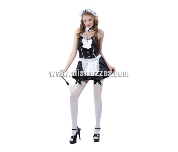 Disfraz barato de Sirvienta Francesa Super Sexy para mujer. Talla Standar M-L 38/42. Incluye vestido, tocado, gargantilla y delantal. Con éste disfraz de Camarera seguro que llamas la atención.