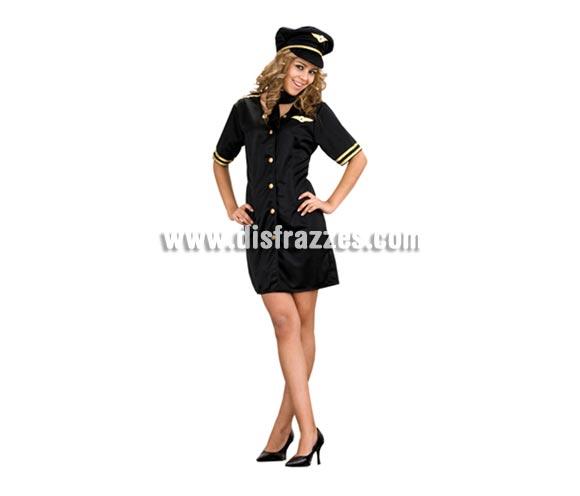 Disfraz de Azafata de Vuelo para mujer. Talla Standar M-L 38/42. Incluye gorro, pañuelo del cuello y vestido. Éste disfraz es muy bonito, algo Sexy y muy elegante.