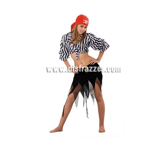 Disfraz barato de Pirata Sexy para chicas. Talla Standar M-L = 38/42. Incluye pañuelo de la cabeza, camisa y falda con cinturón. Un disfraz muy Sexy a la vez que joven y divertido de Pirata, fresquito para el verano.