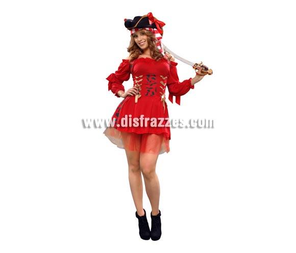 Disfraz barato de Filibustera Sexy para mujer. TallaStandar M-L = 38/42. Incluye sombrero, vestido y cintas de las mangas. Accesorios NO incluidos, podrás verlos en la sección de Complementos. Disfraz de chica Pirata Sexy muy original y diferente idoneo para cualquier tipo de Fiesta y como no, para Carnaval.