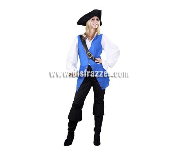 Disfraz de mujer Pirata para Carnavales y Fiestas. Talla Standar M-L = 38/42. Incluye sombrero, camisa, chaqueta, bandolera, pantalones y cubrebotas. Espada NO incluida, la verás en la sección Complementos. Un disfraz perfecto para las zonas donde hace más frio ya que te puedes poner mallas o leotardos debajo.