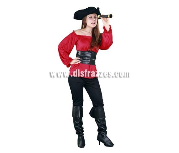 Disfraz de Moza Pirata roja para chicas. Talla Standar M-L = 38/42. Incluye sombrero, camisa, cinturón, pantalón y cubrebotas. Accesorios NO incluidos. Bonito y sobre todo original disfraz de Pirata para las chicas, sencillo pero de bonito diseño y muy complementado ya que incluye hasta el sombrero.
