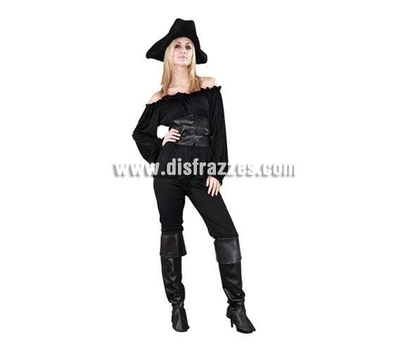 Disfraz de Moza Pirata negra para chicas. Talla Standar M-L = 38/42. Incluye sombrero, camisa, cinturón, pantalón y cubrebotas. Bonito y sobre todo original disfraz de Pirata para las chicas, sencillo pero de bonito diseño y muy complementado ya que incluye hasta el sombrero.