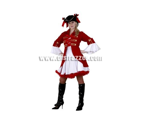 Disfraz de Capitán Pirata para mujer. Talla standar M-L 38/42. Incluye sombrero, vestido y chaqueta. Cubrebotas NO incluido, podrás verlo en la sección Complementos. Traje de Capitana del Barco Pirata muy elegante y de bonito diseño.
