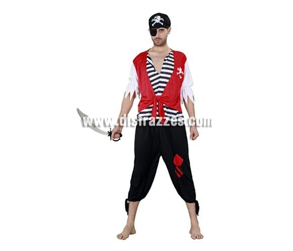 Disfraz barato de Pirata con Calavera para hombre barato. Talla standar M-L = 52/54. Incluye camisa con chaleco, pantalón, pañuelo y parche. Espada NO incluida, verás espadas en la sección Complementos.